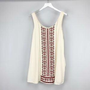 Entro Ivory Embroidered Front Tank Shift D…